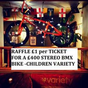 YOU CAN BUY A TICKET FROM SIBOTBMX SHOP IN HORLEY OR THE KINGS HEAD PUB IN HORLEY BY SIBOTBMX SHOP ONLY £1 PER TICKET FOR A £400 BMX BIKE