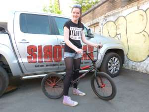 HANNAH IS SIBOTBMX LATEST NEW RIDER SHE WENT FOR THE STEREO BLACK SABBATH AS HERE FIRST RIDE GOOD ON HERE.