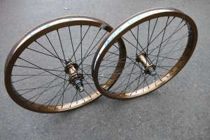 Proper bike co LTD EDITION Bronze wheel set RHD 36H 9T only one small run of these wheels came to the UK and they wont come again.Be the one to have these pups on your ride.