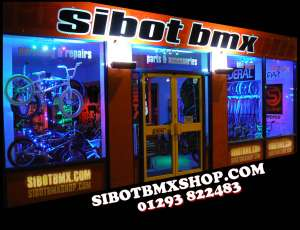 SIBOTBMX shop in Horley and SIBOTBMXSHOP.COM online shop will be open all Christmas only Christmas day closed.Call shop for opening hours.Open Boxing Day too.