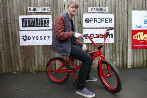 Dean ups the anti by moving fron a Wethpeople BMX to the Sunday Bikes Gary Young Pro red speckled gold Bmx from SIBOTBMX.You Have Chosen Wisely!