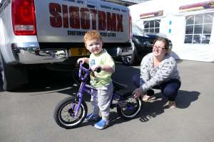"new sibotbmx rider little Reilly here with Mum is bang on it with his new United Recruit 12"" BMX. The 2 year old is a nutter and will be shreading the pack soon look out you boys."