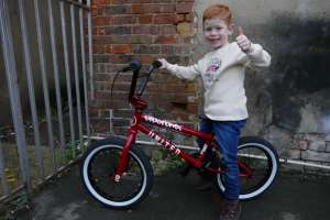 "This little nutter is on it with his new United Supreme 16″ BMX.James ""NO FEAR"" shredded our back yard checking out the bike"